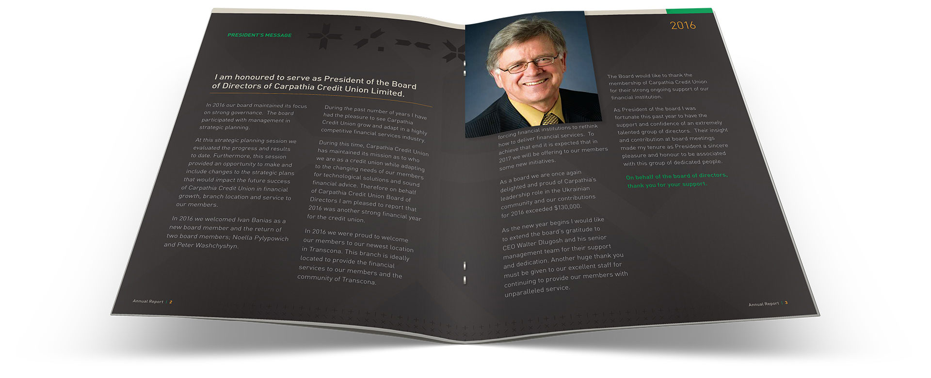 Inside pages of the Carpathia Credit Union annual report